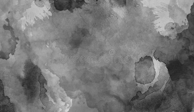 黑和whie水彩texutre 为背景、墙纸,盖子和包装设计 皇族释放例证
