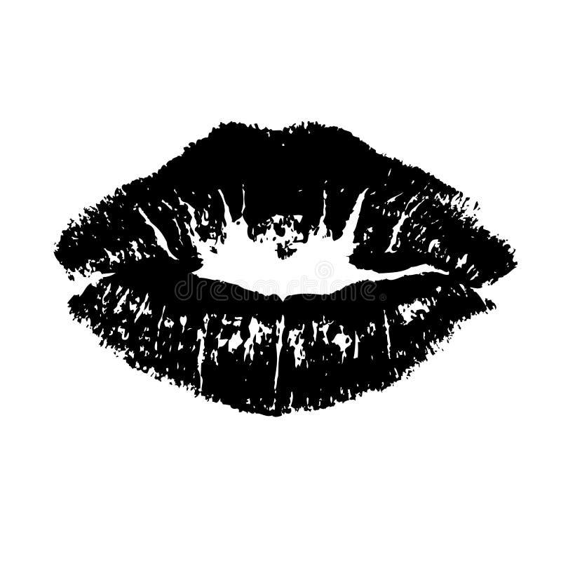 黑嘴唇亲吻 向量例证