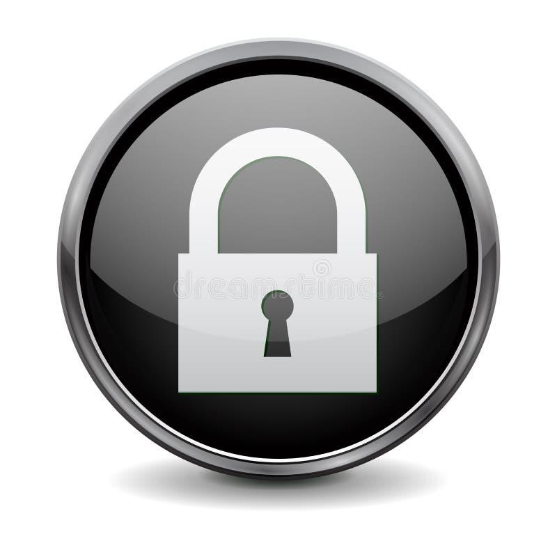 黑回合3d按钮 闭合的标志 向量例证