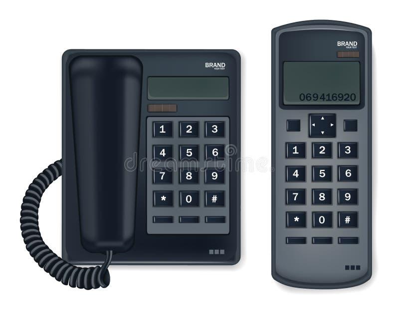 黑在白色隔绝的电话固定式传染媒介现实 向量例证
