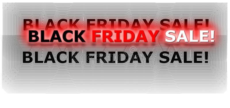 黑在红色和白色上色的星期五购物横幅数字式氖 库存例证