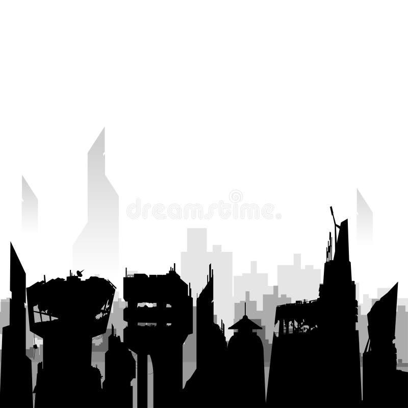黑城市剪影 向量例证