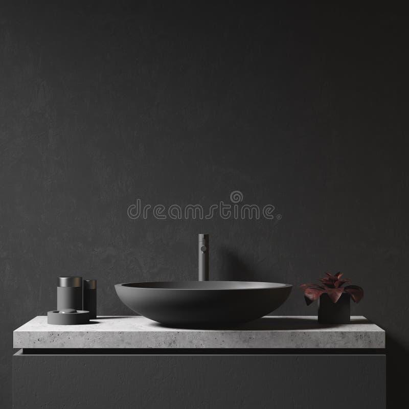 黑墙壁和卫生间水槽 免版税库存照片