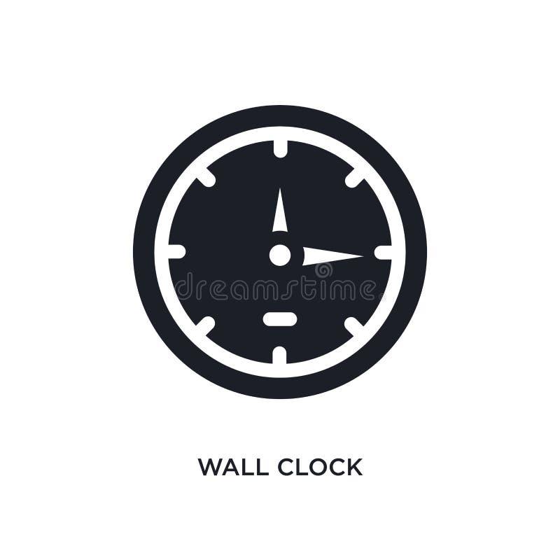 黑壁钟被隔绝的传染媒介象 从家具&家庭概念传染媒介象的简单的元素例证 背景时钟查出在墙壁白色 向量例证