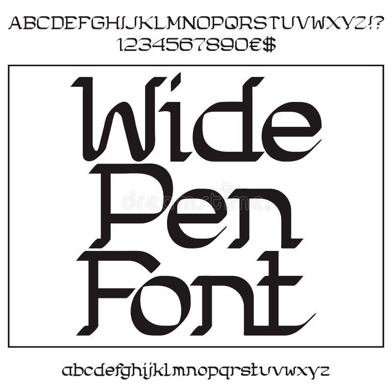 黑大写和小写字母和数字 向量例证