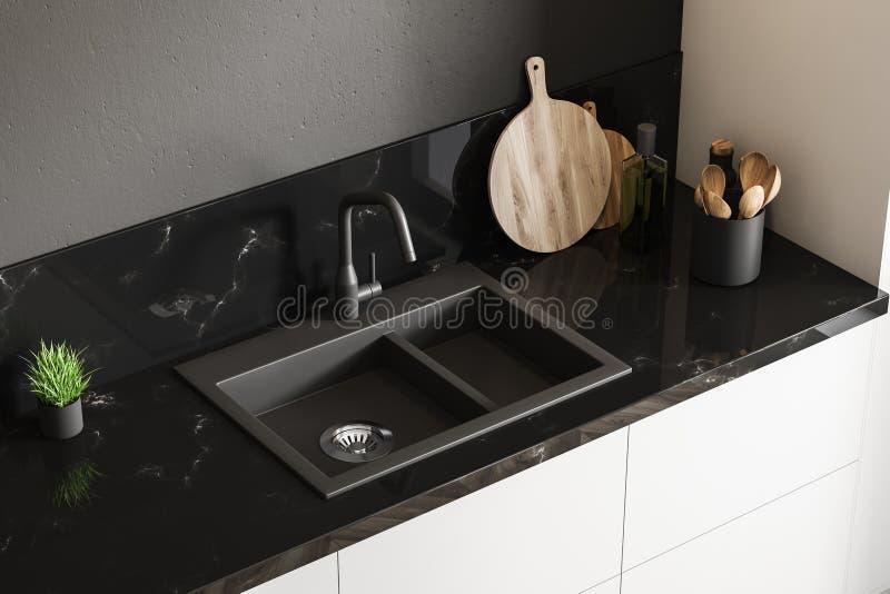 黑大理石厨房水槽,顶视图 向量例证