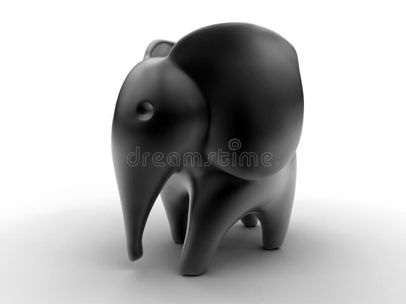 黑大象雕象 向量例证