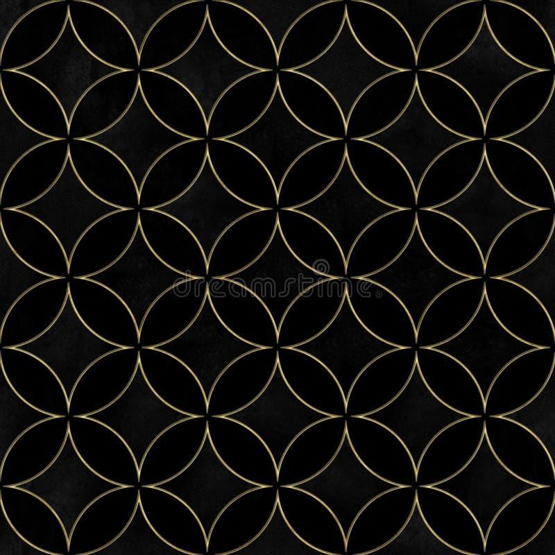 黑天鹅绒豪华重叠的圈子无缝的样式 库存图片