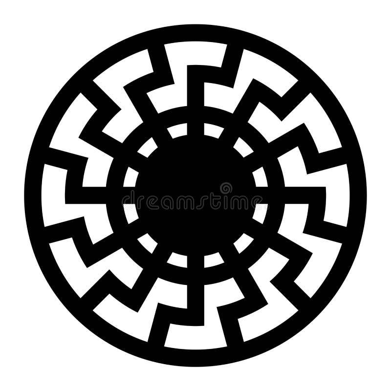 黑太阳标志象 库存例证