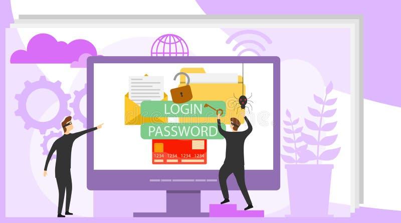黑客乱砍在计算机上的帐户 黑客要乱砍在计算机上的个人资料 个人资料的保护从 库存例证
