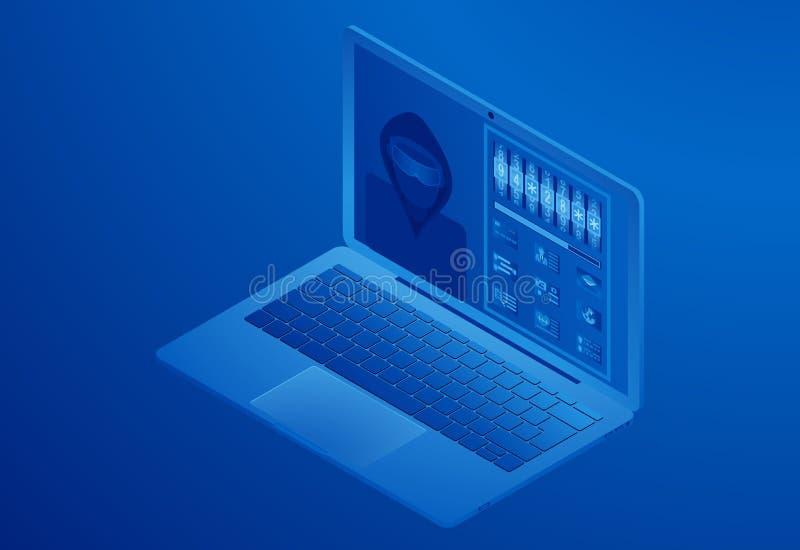黑客乱砍的计算机,窃取用户数据,猜测密码,拾起钥匙 皇族释放例证