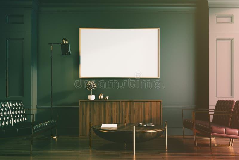黑客厅、被定调子的沙发和海报 库存例证