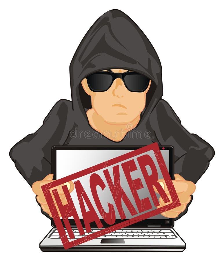黑客和红色打印 库存例证