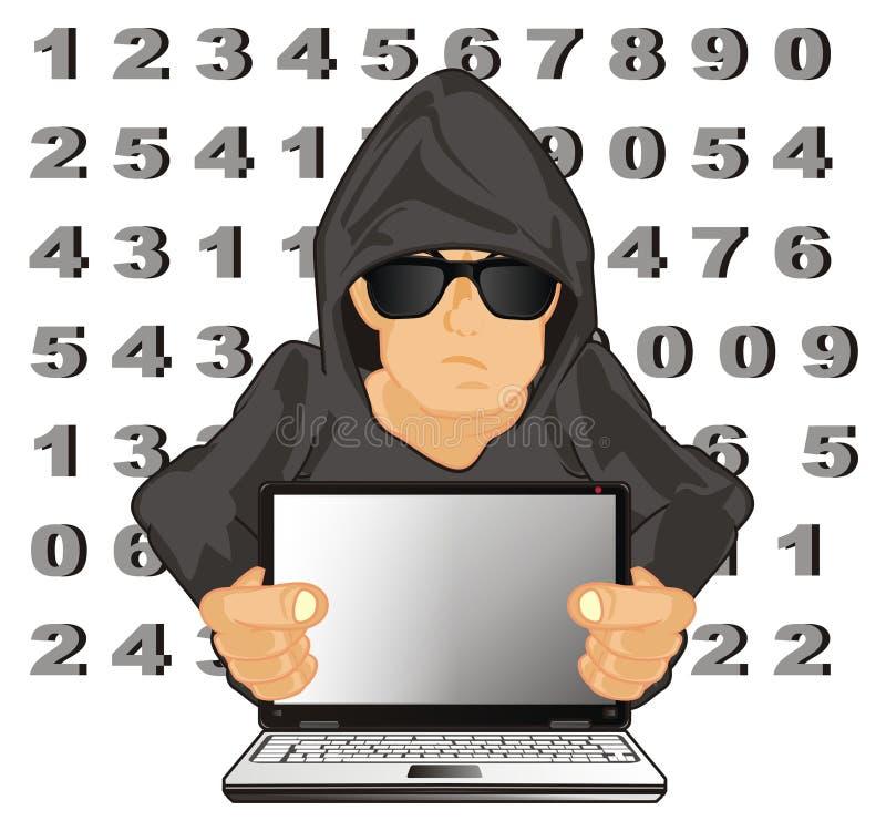 黑客和许多数字 库存例证