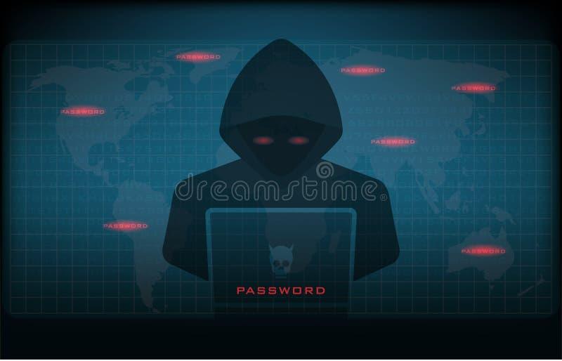 黑客在与用户界面一起使用 库存例证