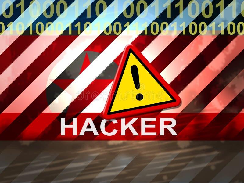 黑客显示暗中侦察3d例证的北朝鲜网络 向量例证