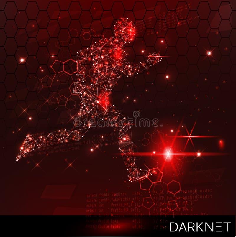黑客活动横幅 与逃避者的技术空间 红色,警告背景 向量例证