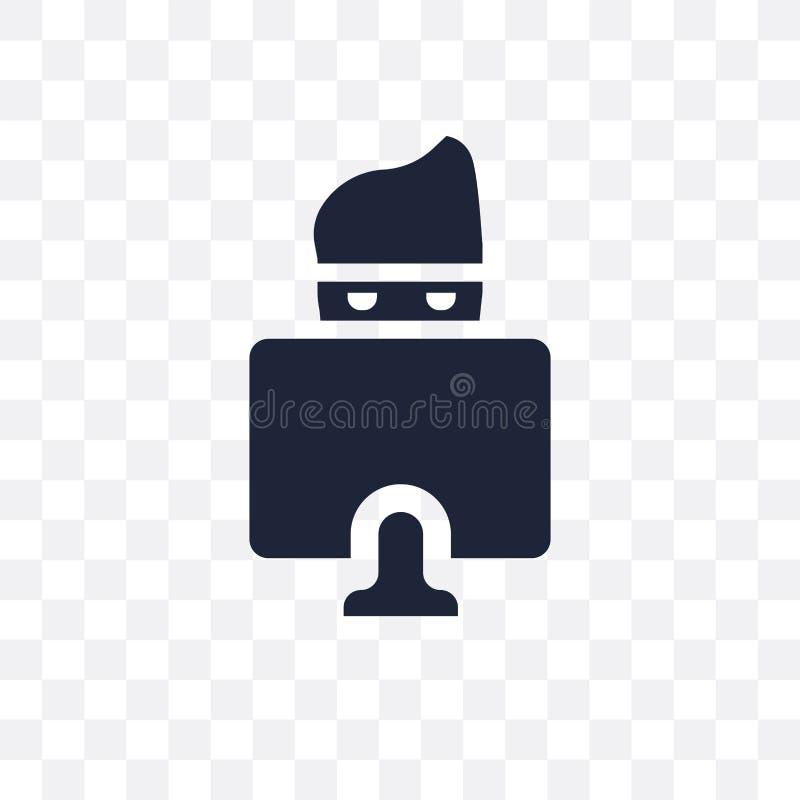 黑客透明象 黑客从互联网secu的标志设计 皇族释放例证