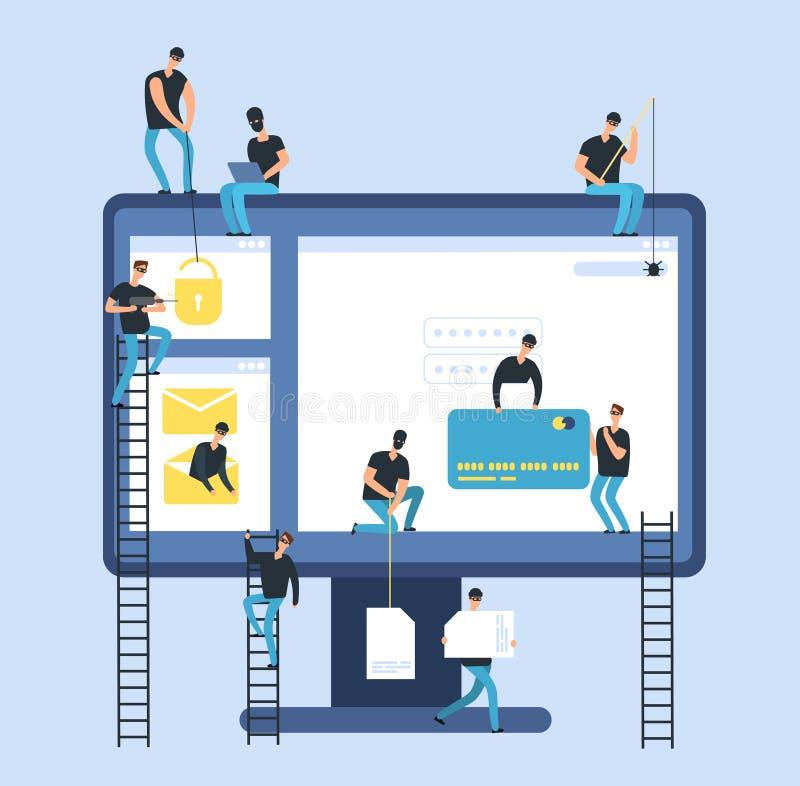 黑客 网络窃贼抢夺的计算机机要银行数据 黑客身分和金钱风险传染媒介概念 向量例证