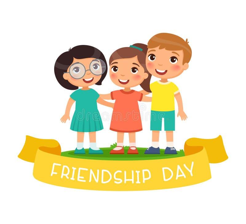 黑小猫和逗人喜爱的女孩有黄色伞的 愉快的友谊天 三儿童拥抱 库存例证