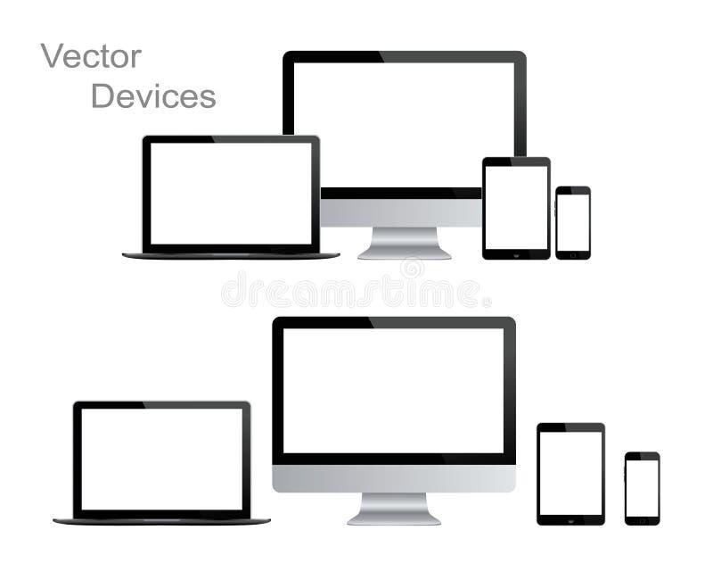 黑小配件和设备,现实传染媒介例证 向量例证