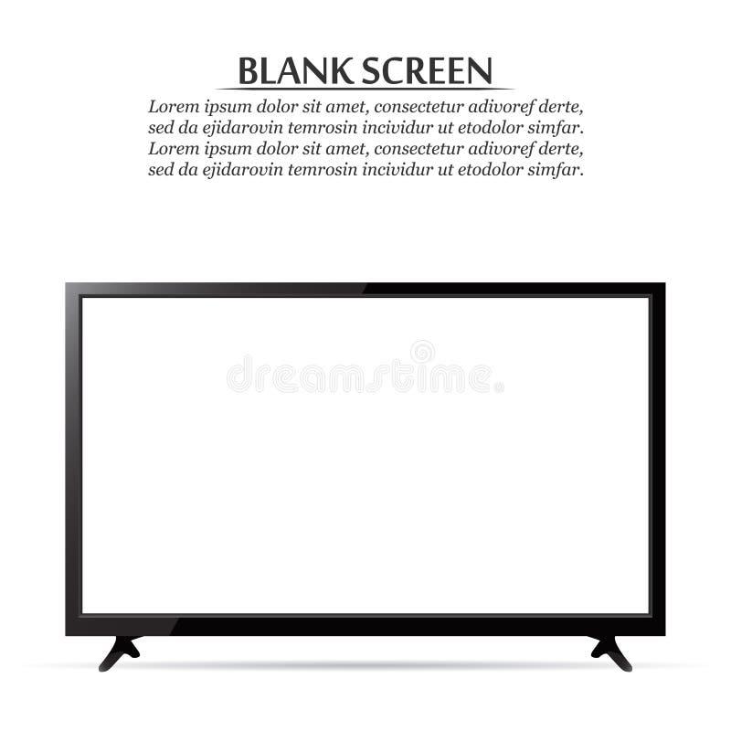 黑屏 在白色背景的现实电视 库存例证
