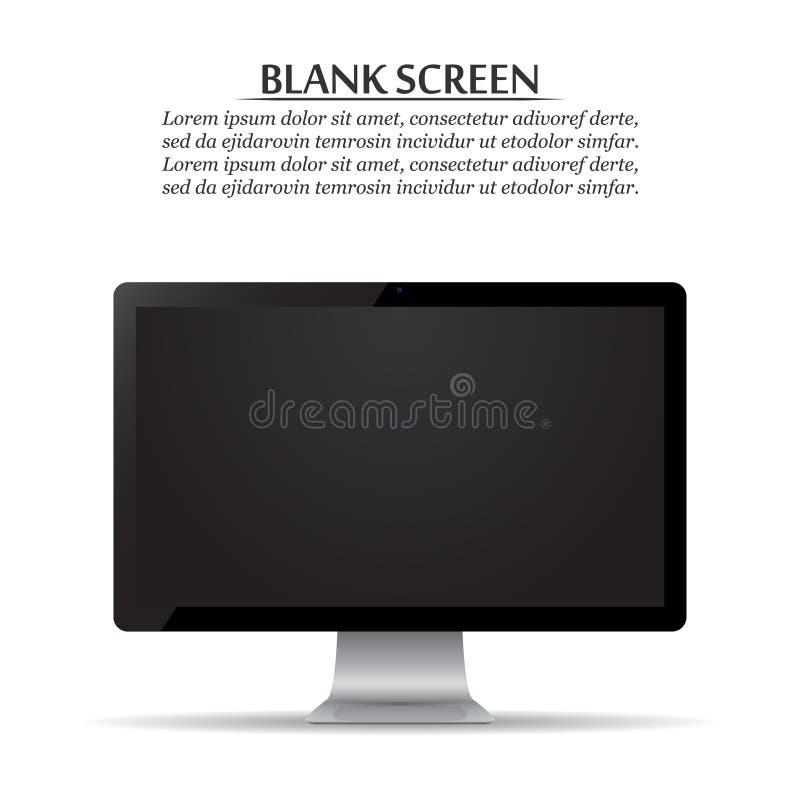 黑屏 在白色背景的计算机显示器 库存例证
