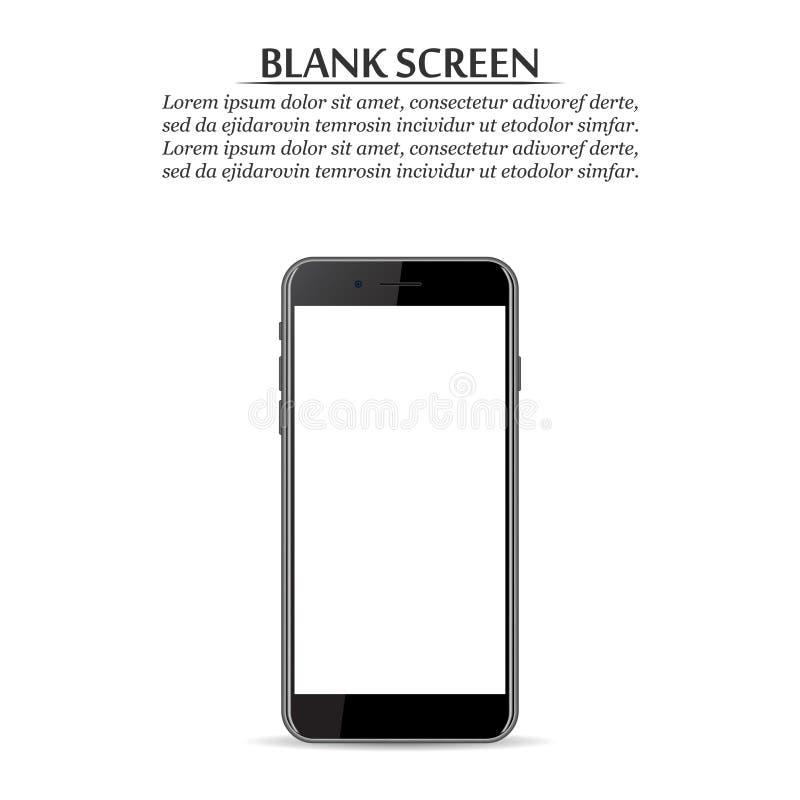 黑屏 在白色背景的黑智能手机 向量例证