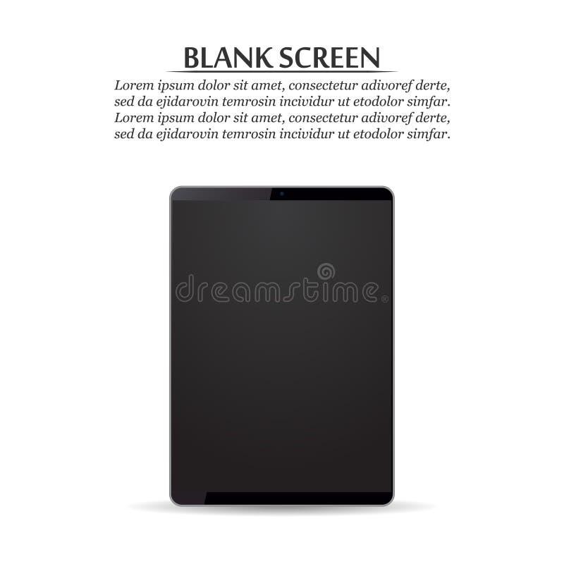 黑屏 在白色背景的黑片剂 库存例证