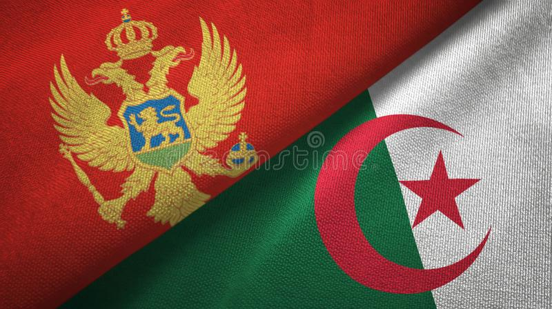 黑山和阿尔及利亚两旗子纺织品布料,织品纹理 皇族释放例证
