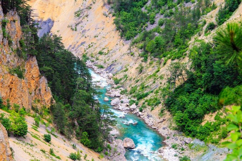 黑山山环境美化 蓝色河在用绿色森林盖的高山中的一个深峡谷流动 库存照片