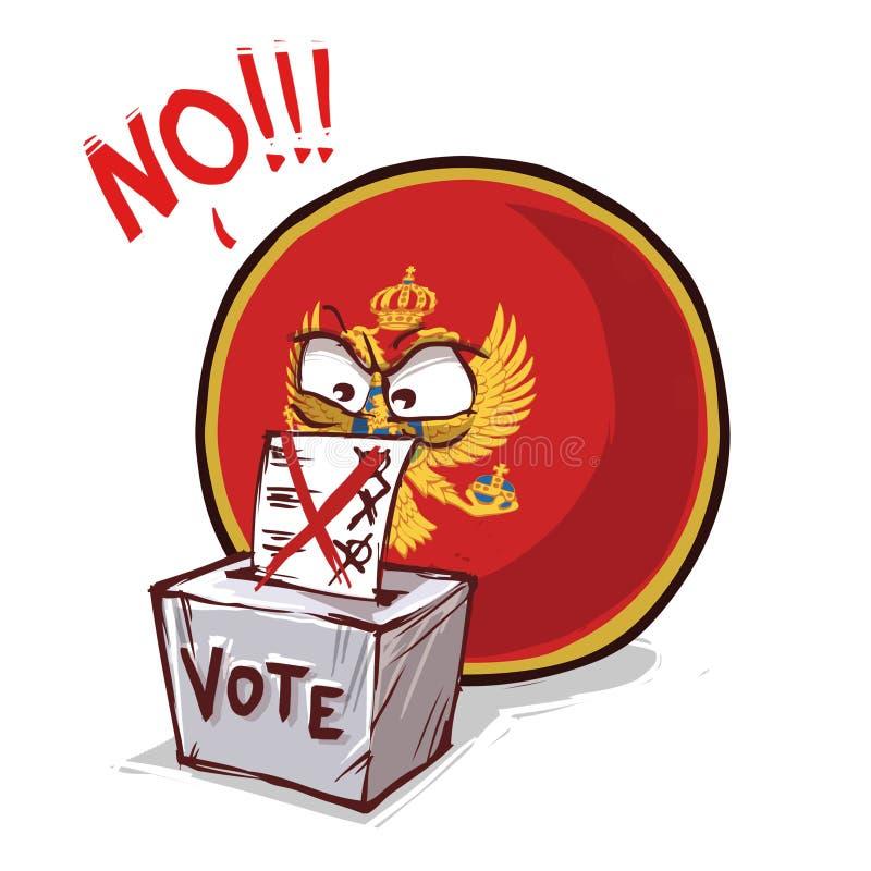 黑山投反对票国家的球 库存例证