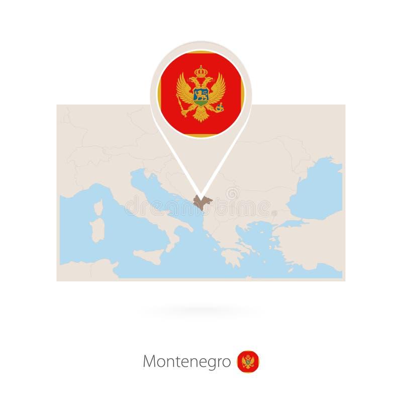 黑山的长方形地图有黑山的别针象的 向量例证
