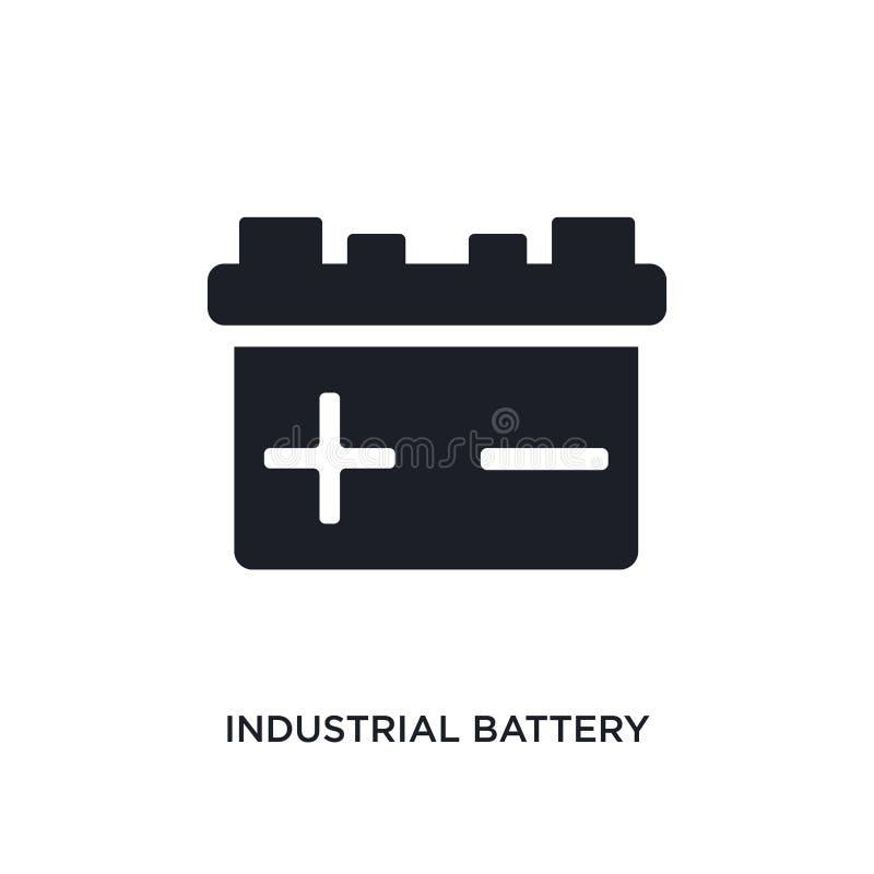 黑工业电池被隔绝的传染媒介象 从产业概念传染媒介象的简单的元素例证 工业电池 库存例证