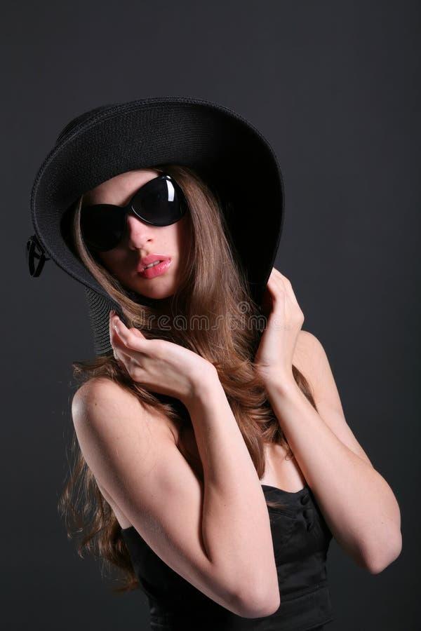 黑帽会议妇女年轻人 库存图片