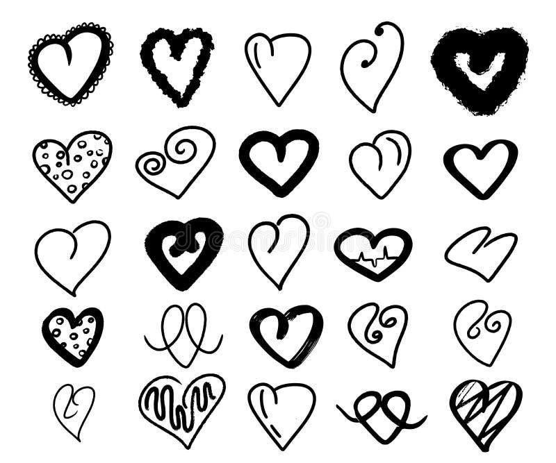 黑心脏收藏 大在白色背景的集合手拉的心脏爱 乱画动画片浪漫样式 对婚姻的海报 库存例证