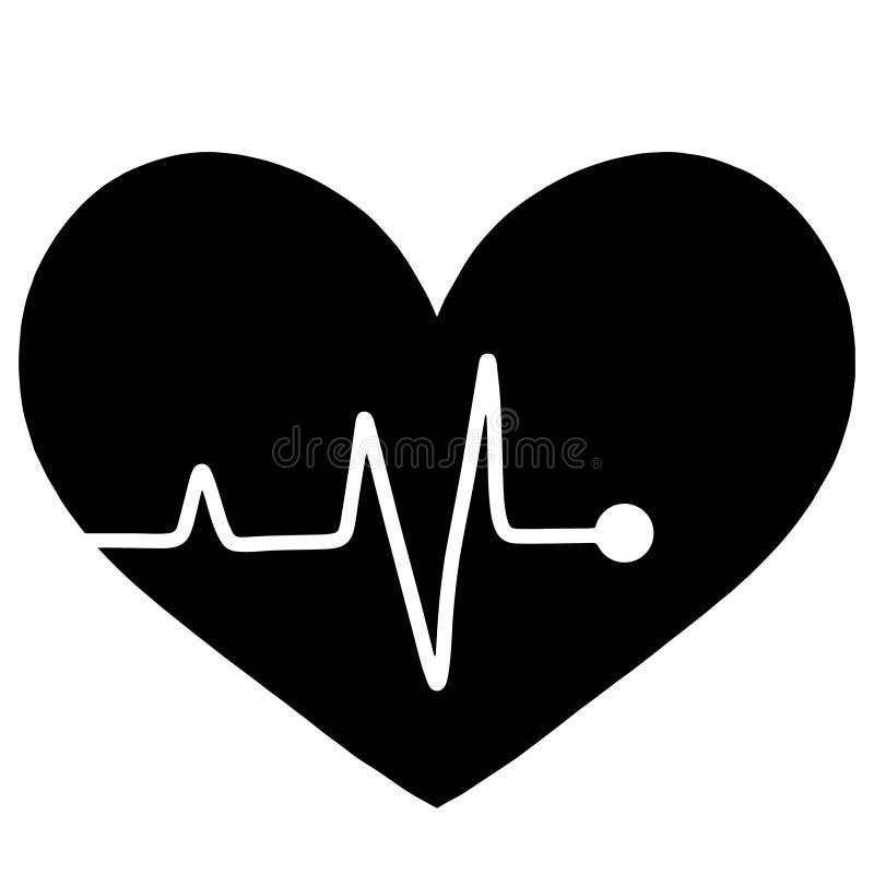 黑心跳显示器脉冲线商标 平的样式传染媒介例证健康生活设计 呼吸的活标志爱心脏军医 库存例证