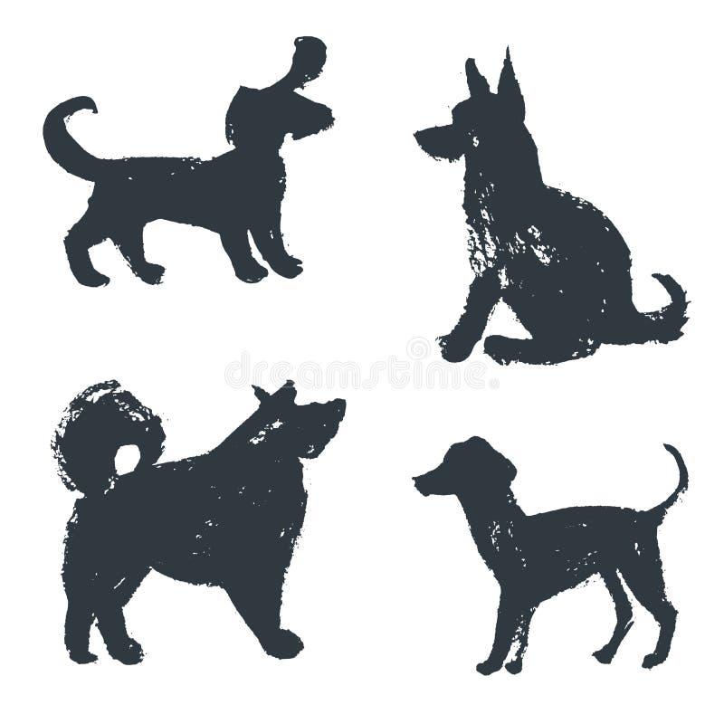 黑手拉的被隔绝的狗剪影 难看的东西墨水illustrati 库存例证