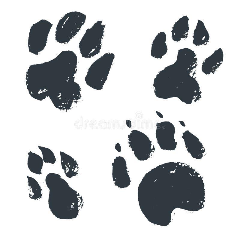 黑手拉的被隔绝的野生动物脚印 难看的东西墨水不适 库存例证