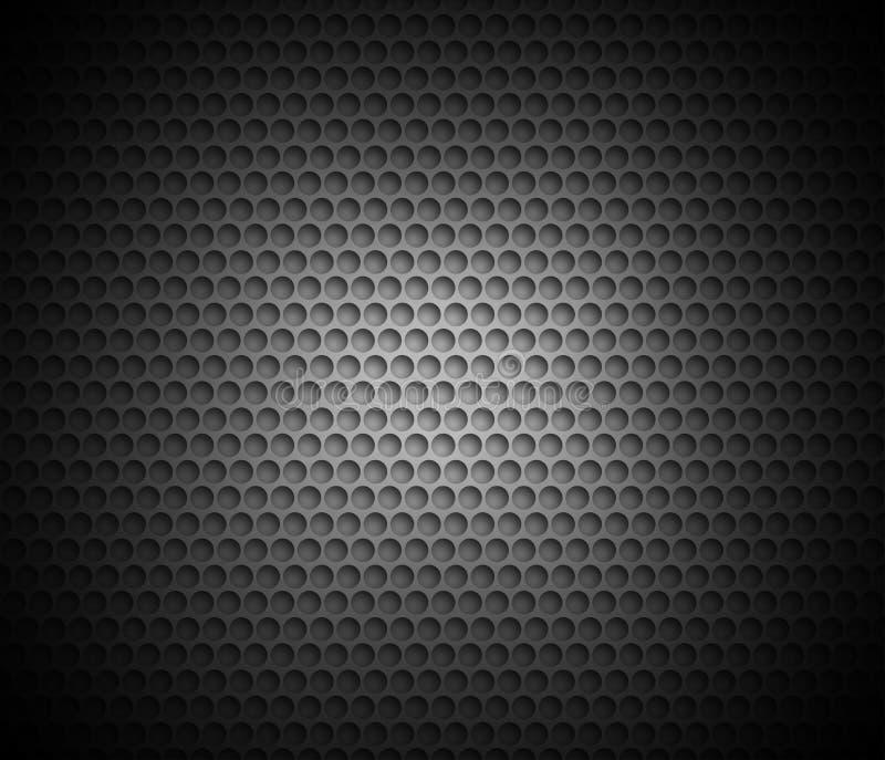黑抽象背景有金属背景 圆的细胞栅格  库存例证