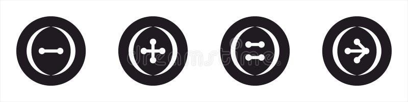 黑按钮的象和wite 不同的集合模型 免版税库存图片