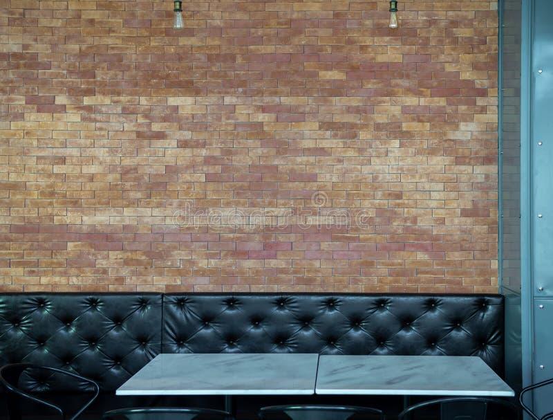 黑按钮装缨球长的减速火箭的样式沙发和大理石饭桌在砖墙背景的餐馆 图库摄影