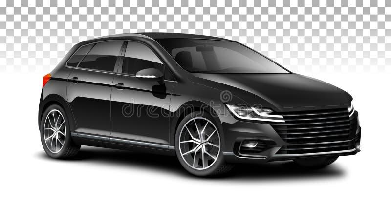 黑斜背式的汽车普通汽车 有光滑的表面的城市汽车在白色背景 库存例证