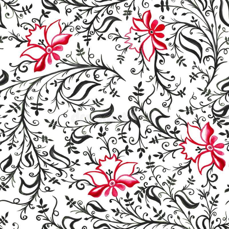 黑无缝的样式装饰品透雕细工精美花和叶子有卷毛的和的藤红色和 库存例证