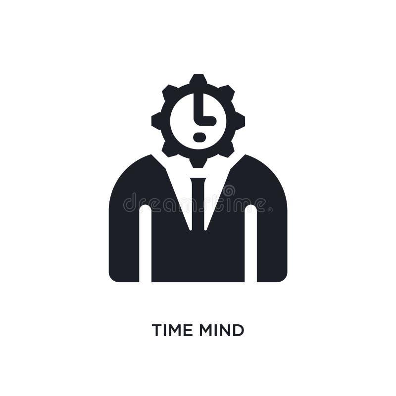 黑时间头脑被隔绝的传染媒介象 从时间管理概念传染媒介象的简单的元素例证 编辑可能时间的头脑 库存例证