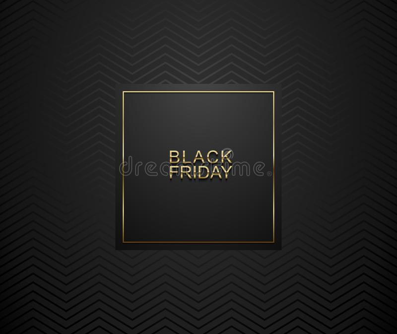 黑星期五豪华横幅 在黑角规标签框架的金黄文本 黑暗的几何Z形图案背景 也corel凹道例证向量 向量例证
