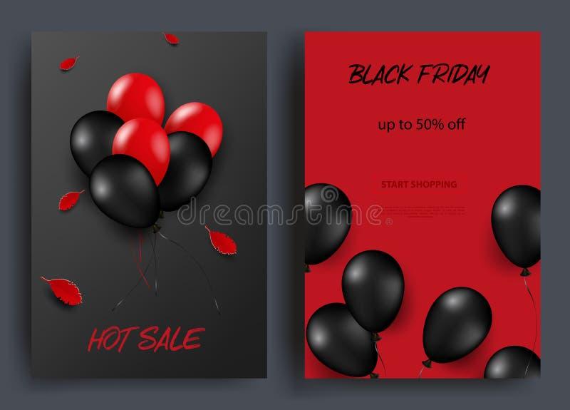 黑星期五销售垂直横幅 在黑暗和红色背景的飞行的光滑的气球 落的叶子 向量 向量例证