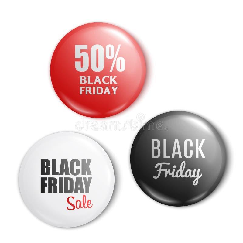 黑星期五销售套圆的别针或按钮现实样式 库存例证