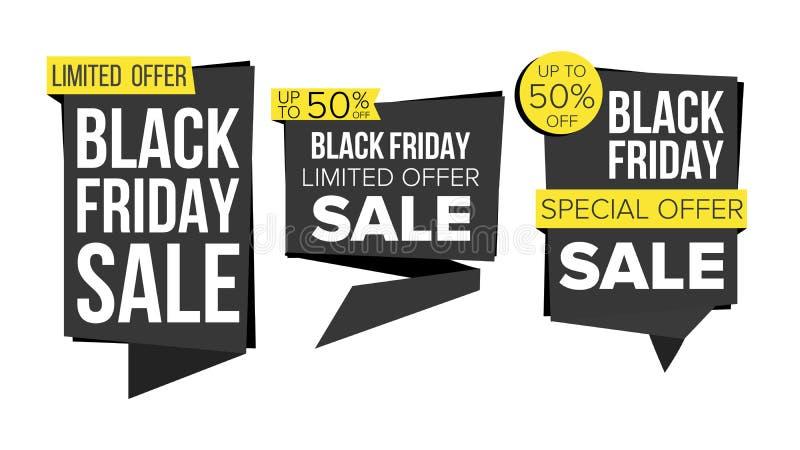 黑星期五销售横幅汇集传染媒介 网站贴纸,黑网页设计 星期五广告元素 皇族释放例证