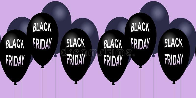 黑星期五销售水平的横幅 飞行的光滑的气球 皇族释放例证